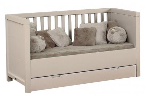 Quax - Lit évolutif Quarré 70x140cm grisato avec tiroir lit