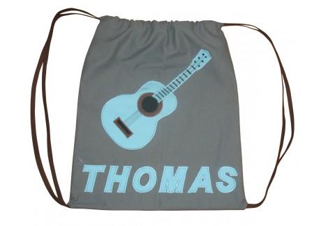 Sac à dos gris Guitare turquoise
