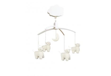Mobile Musical Moutons lune écru