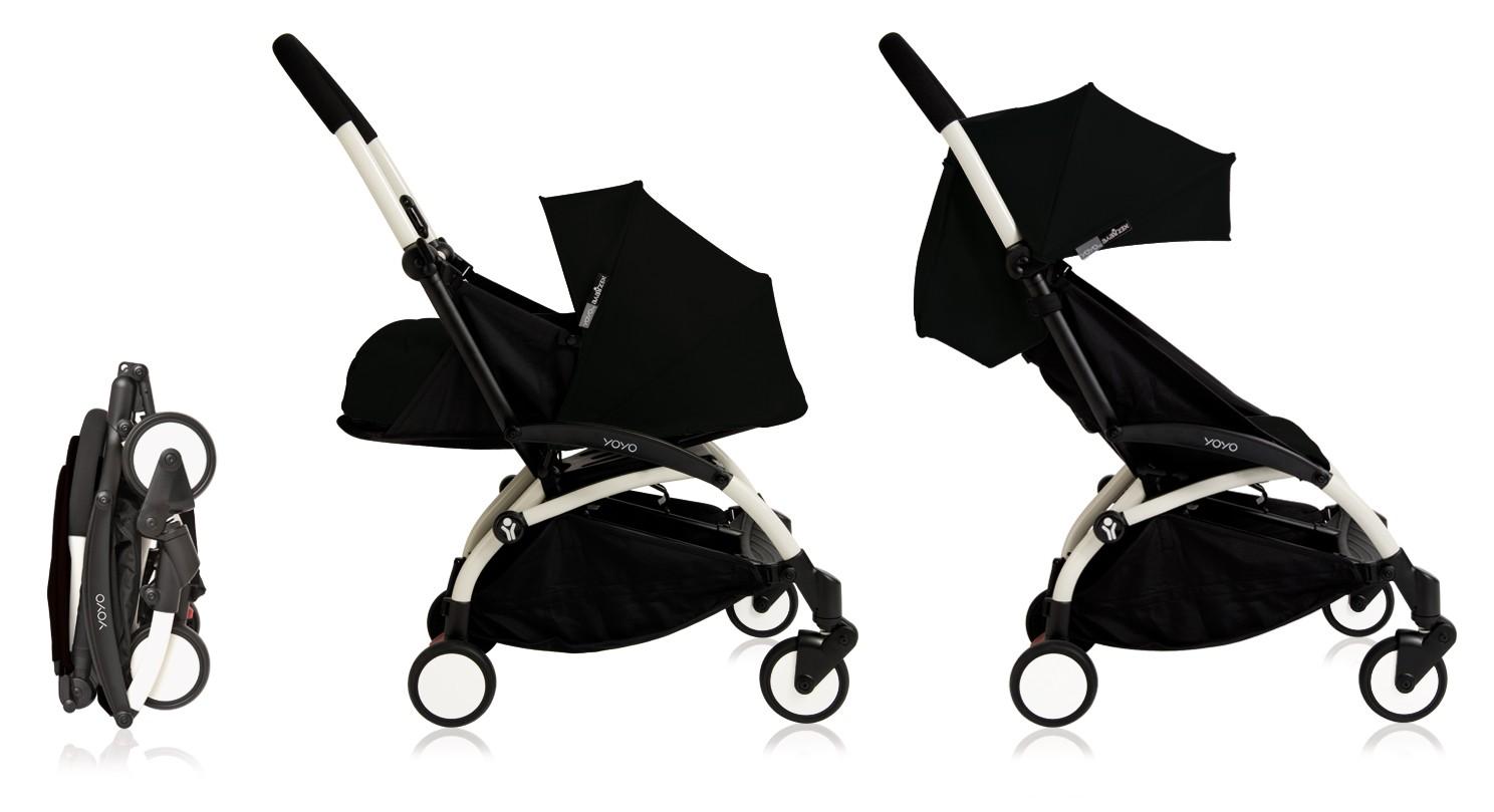 poussette babyzen yoyo plus 0 et 6 noire ch ssis blanc. Black Bedroom Furniture Sets. Home Design Ideas