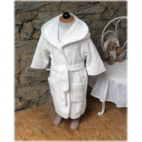 peignoir de bain ponge et lin blanc amandine de brevelay peignoir de bain little. Black Bedroom Furniture Sets. Home Design Ideas
