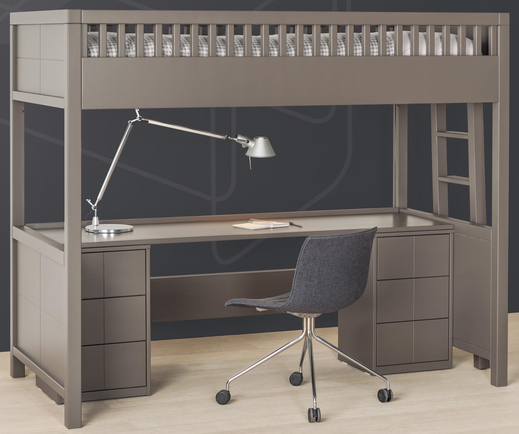 Caisson de support pour mezzanine quarr - Lit mezzanine avec bureau integre ...