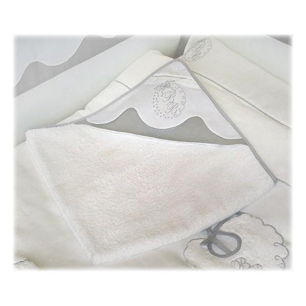 sortie de bain ponge et lin gris blanc amandine de brevelay sortie de bain little doudou. Black Bedroom Furniture Sets. Home Design Ideas