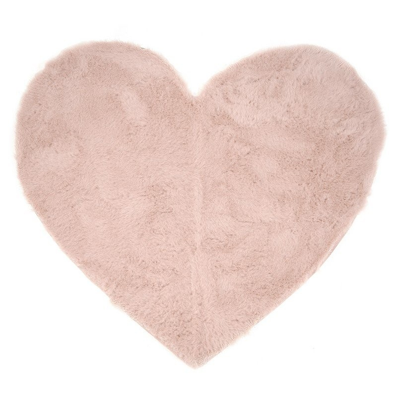 Tapis pilepoil en fausse fourrure forme coeur tapis little b b s pu riculture - Tapis fausse fourrure rose ...