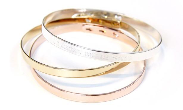 Bracelet jonc ruban or rose
