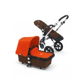 Poussette Bugaboo Cameleon 3 base marron habillage orange