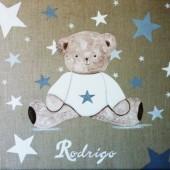 Tableau Doudou étoiles parsemées - Garçon