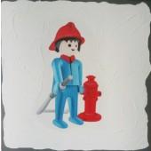 Tableau Playmobil Pompier blanc