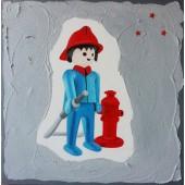 Tableau Playmobil Pompier gris