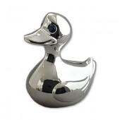 Tirelire canard en métal d'argent gravée