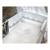 Tour de lit lin gris/blanc - Il était une fois - Amandine de Brevelay